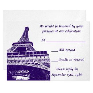 Eiffel torn i purpurfärgad OSA kort 8,9 X 12,7 Cm Inbjudningskort