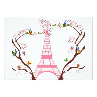 Eiffel torn i vårinbjudan 12,7 x 17,8 cm inbjudningskort
