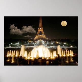 Eiffel torn på natten poster