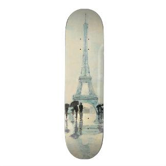 Eiffel torn   Paris i regna Old School Skateboard Bräda 18 Cm