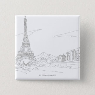 Eiffel torn, Paris Standard Kanpp Fyrkantig 5.1 Cm