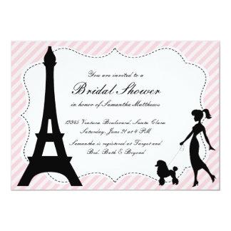 Eiffel torn & rosapudelmöhippa Invitatio 12,7 X 17,8 Cm Inbjudningskort