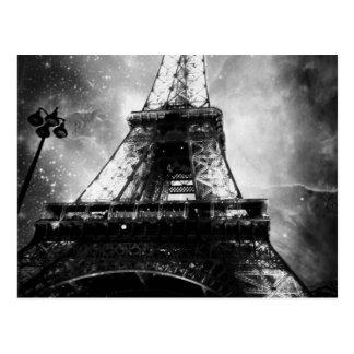Eiffel torn som är svartvitt vykort