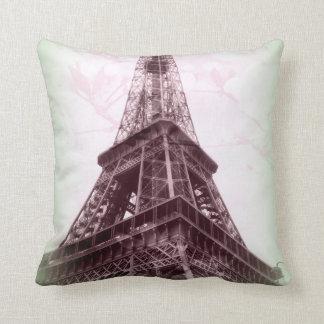 Eiffel torndekorativ kudde i grönt och blommigt