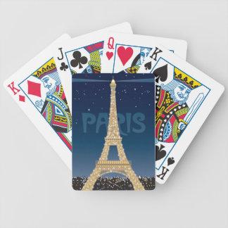 Eiffel torngnistra som leker kort spelkort