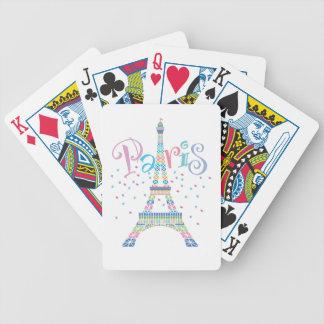 Eiffel tornkonfettiar som leker kort spelkort