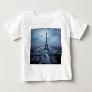 Eiffel tornParis frankriken 1900 tonade blått T-shirts