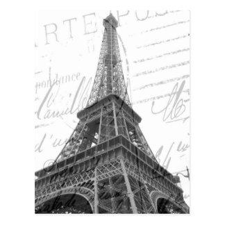 Eiffel tornvykort, svart & vit, lodrät vykort