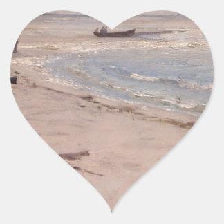 Eilif Peterssen - från stranden på Sele Hjärtformat Klistermärke