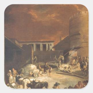 Ein Römischer Kalkofen vid den Sebastien bourdonen Fyrkantigt Klistermärke