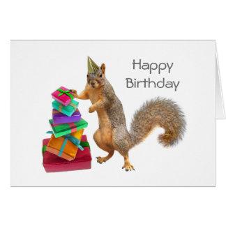 Ekorre med högen av presenterfödelsedagkortet hälsningskort