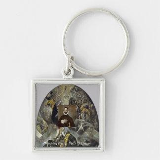 """El Greco """"jordfästning gåvor & utslagsplatser av Fyrkantig Silverfärgad Nyckelring"""