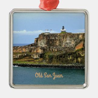 El Morro som bevakar San Juan fjärdanpassningsbar Julgransprydnad Metall