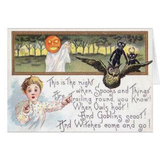 Elakt troll för uggla för spöke för pumpa för hälsningskort