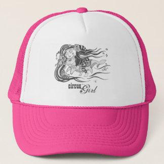Elakt trollhundfisk, cirkusflicka, rosa truckerkeps