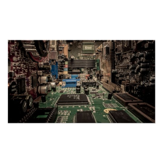 Electronic landscape poster