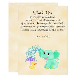 Elefant för neutralt för baby showertackgender 12,7 x 17,8 cm inbjudningskort