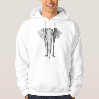 Elefant i svartvitt sweatshirt med luva
