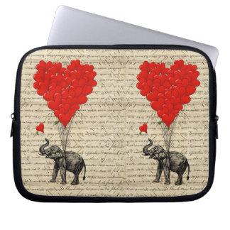 Elefant och hjärtformade ballonger laptop fodral