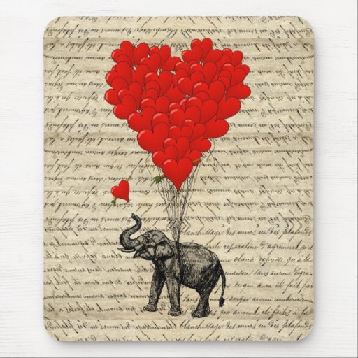 Elefant och hjärtformade ballonger mus mattor