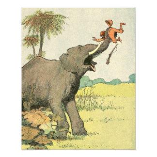 Elefant och tjuvskytt i den illustrerade djungeln fototryck