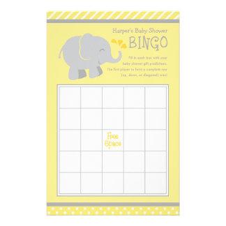 Elefantbaby showerbingoen Cards | gult och grått Personliga Flygblad