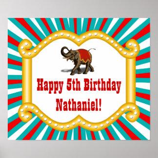 Elefantcirkusen lurar pojkefödelsedagsfestbanret poster