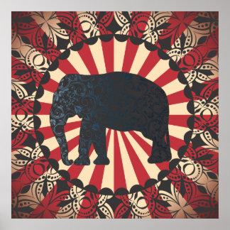 Elefanten för den StellaRoot vintagecirkusen frigö Poster