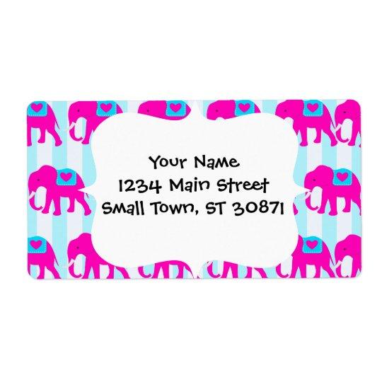 Elefanter för blått för shock rosakrickaturkos på fraktsedel