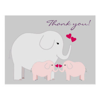 Elefanter i rosa tackvykort vykort
