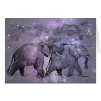 Elefanter i vinteranpassade hälsningskort