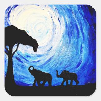Elefanter under månsken (K.Turnbull-konst) Fyrkantigt Klistermärke