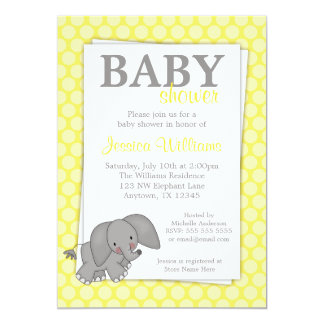 Elefantgult pricker genderneutraltbaby shower 12,7 x 17,8 cm inbjudningskort
