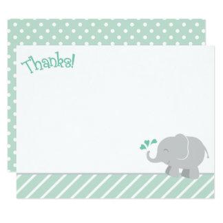 Elefanttackkortet Cards den   minten och grått 10,8 X 14 Cm Inbjudningskort