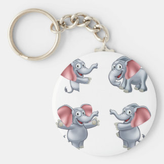 Elefanttecknad Masoct Rund Nyckelring