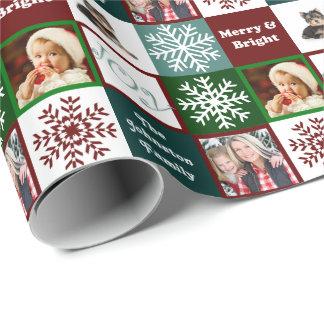 Elegans för vinter för foto för julglädjefamilj presentpapper