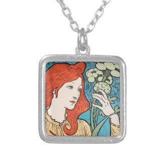 Elegant art nouveau halsband med fyrkantigt hängsmycke
