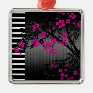 Elegant bambu för asiat för rosablommarsvart julgransprydnad metall