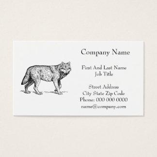 Elegant bläckteckning för grå varg visitkort