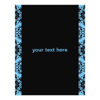 Elegant blått- och svartdamast reklamblad