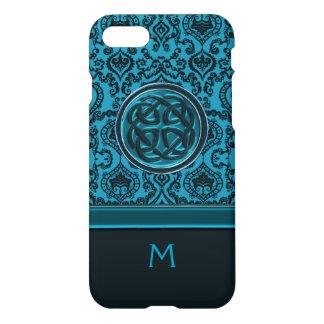 Elegant blåttdamast för Monogram och Celtic fnurra iPhone 7 Skal