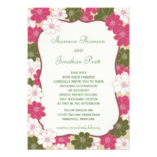 Elegant blom- bröllopinbjudan