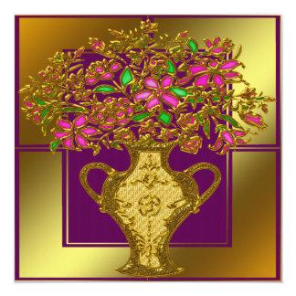Elegant blom- bröllopinbjudan fyrkantigt 13,3 cm inbjudningskort