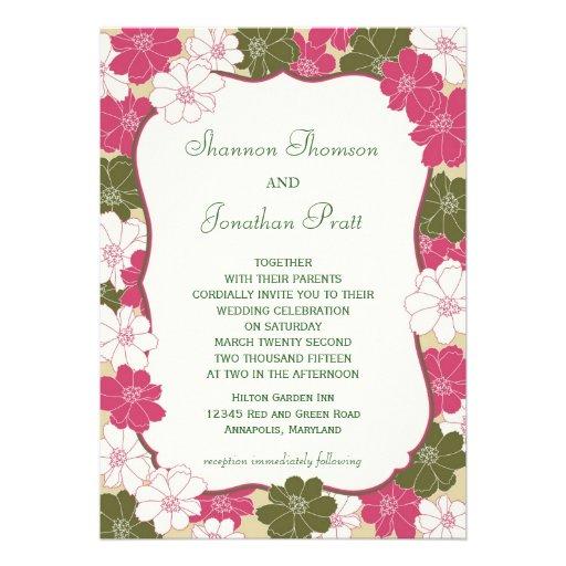 Elegant blom- bröllopinbjudan kort för inbjudningar