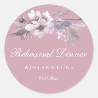 Elegant blom- dammig rosa brölloprepetition middag runt klistermärke