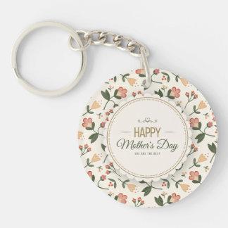 Elegant blom- lycklig mors dag Keychain