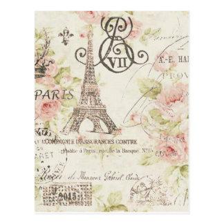 Elegant blom- paris för vintage flickaktigt mode vykort