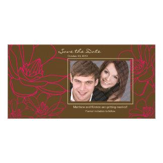 Elegant blom- spara daterafotokortet fotokort