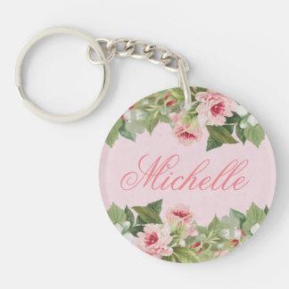 Elegant blommigtnamnkeychain/nyckelring med