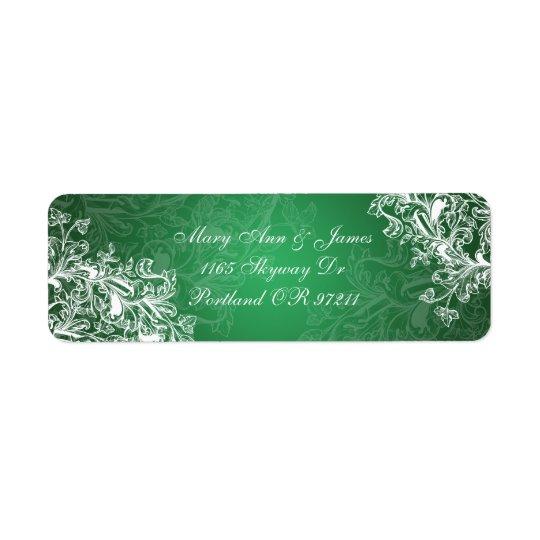 Elegant bröllopadressvintage virvlar runt grönt returadress etikett